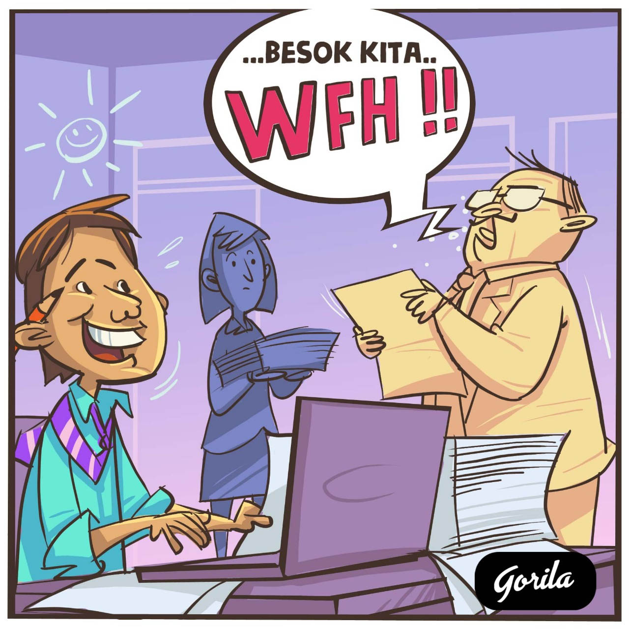 Komik Strip WFH (Wash From Home)